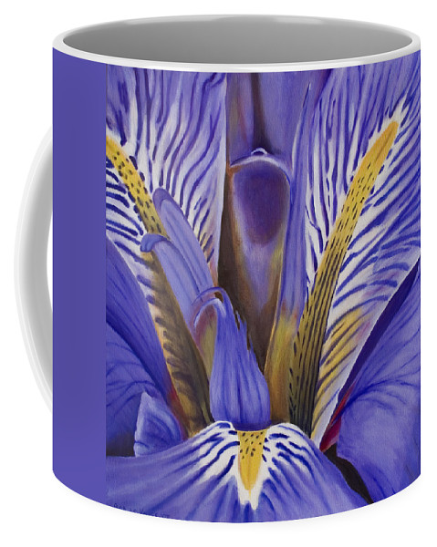 Flower Coffee Mug featuring the painting Iris by Rob De Vries