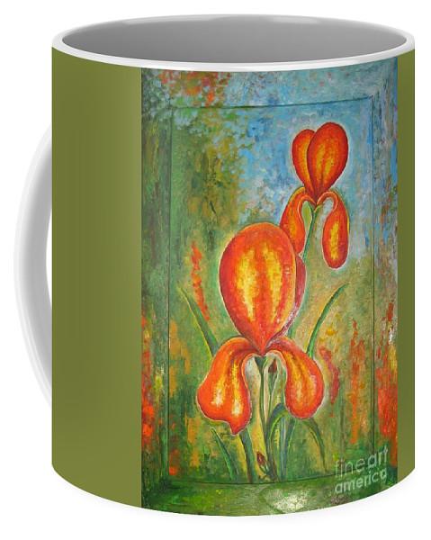 Iris Coffee Mug featuring the painting Iris by Stella Velka