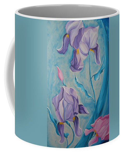Flowers Coffee Mug featuring the painting Iris by V Boge