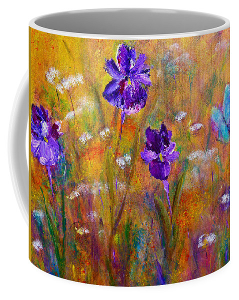 Floral Art Coffee Mug featuring the painting Iris Wildflowers And Butterfly by Claire Bull