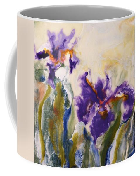 Iris Coffee Mug featuring the painting Irises by Donna Tuten