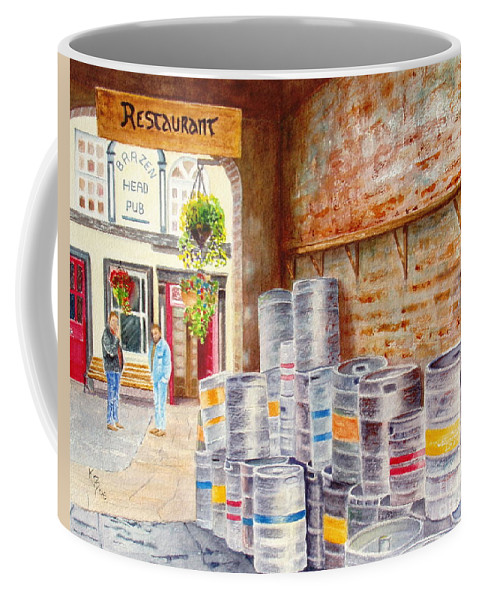 Kegs Coffee Mug featuring the painting Irish Suds by Karen Fleschler