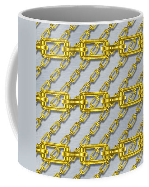 Seamless Coffee Mug featuring the digital art Iron Chains With Brushed Metal Seamless Texture by Miroslav Nemecek