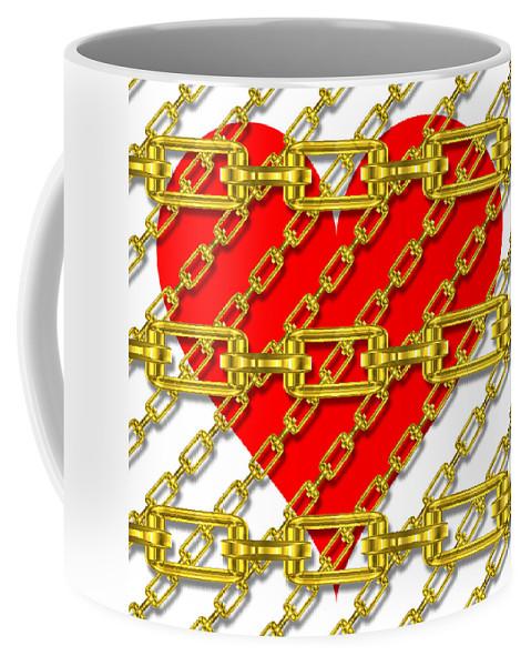 Metal Coffee Mug featuring the digital art Iron Chains With Heart Texture by Miroslav Nemecek