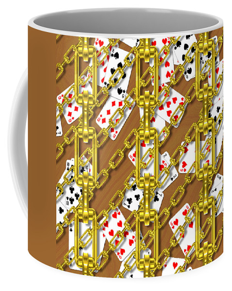 Seamless Coffee Mug featuring the digital art Iron Chains With Playing Cards Seamless Texture by Miroslav Nemecek