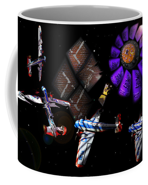 Outer Space Coffee Mug featuring the digital art Iron In The Sky by Charles Stuart