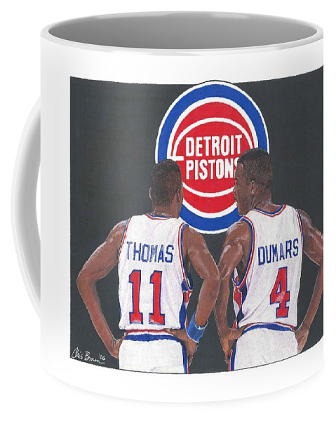 Isiah Coffee Mug featuring the mixed media Isiah Thomas And Joe Dumars by Chris Brown