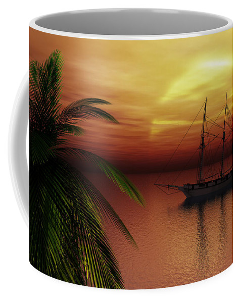 Tropical Coffee Mug featuring the digital art Island Explorer by Richard Rizzo