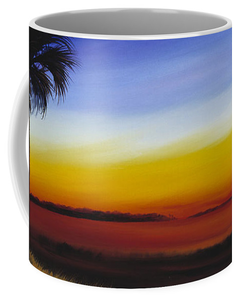 Palmetto Tree Coffee Mug featuring the painting Island River Palmetto by James Christopher Hill