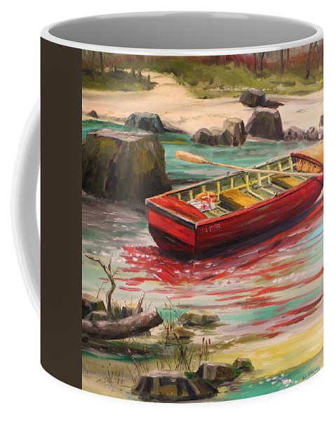Boat Coffee Mug featuring the painting Island Shade by John Williams