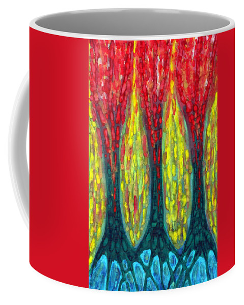 Colour Coffee Mug featuring the painting Island Three Trees by Wojtek Kowalski