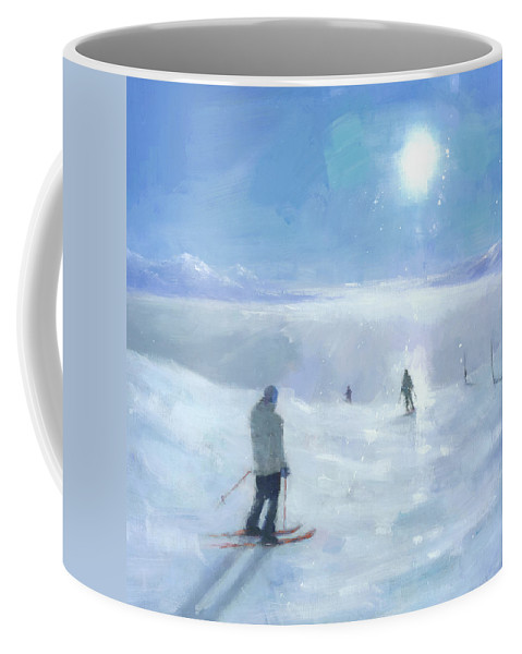 Original Coffee Mug featuring the painting Islands In The Cloud by Steve Mitchell