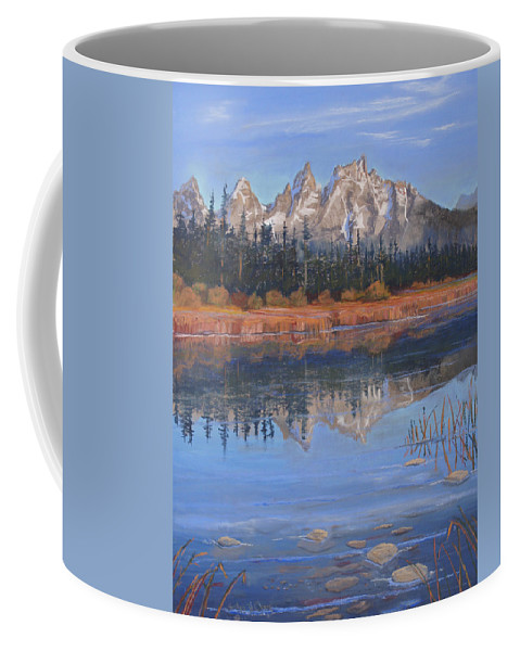 Grand Tetons Coffee Mug featuring the pastel Isn't It Grand by Heather Coen