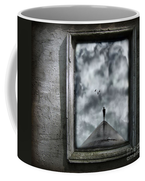Dark Coffee Mug featuring the painting Isolation by Jacky Gerritsen