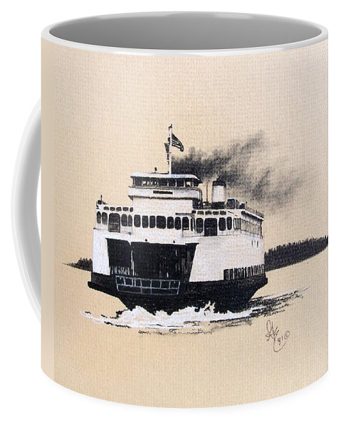 Ferry Coffee Mug featuring the pastel Issaquah by Gale Cochran-Smith