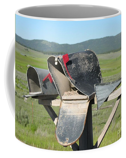Mailbox Coffee Mug featuring the photograph It Caught Me Off Guard by Diane Greco-Lesser