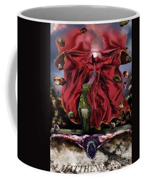 Jesus Rising On The Cross Coffee Mug featuring the painting It Is Finished by Reggie Duffie