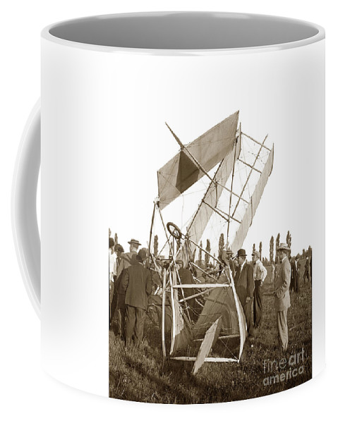 It Was A Good Landing He Walked Away Coffee Mug featuring the photograph It Was A Good Landing The Pilot Walked Away Twin Wing Aircraft Circa 1909 by California Views Archives Mr Pat Hathaway Archives