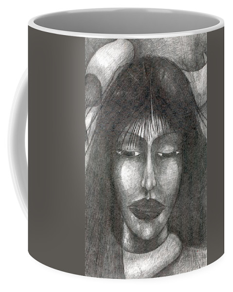 Psychedelic Coffee Mug featuring the drawing It Will Be So by Wojtek Kowalski