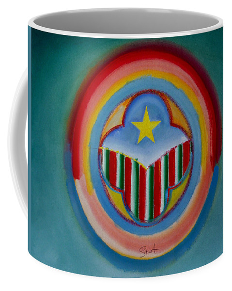 Button Coffee Mug featuring the painting Italian American by Charles Stuart