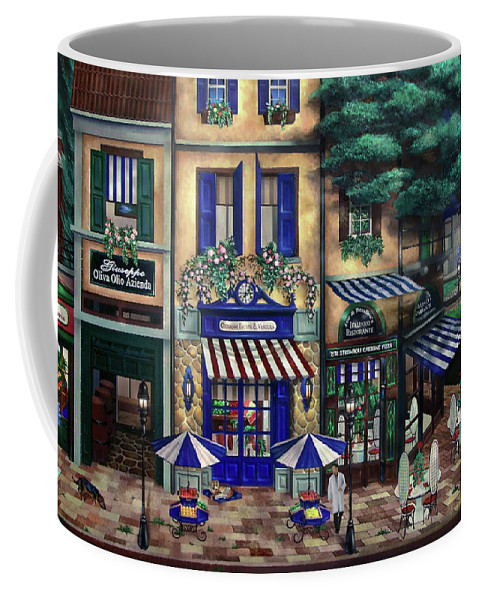 Italian Coffee Mug featuring the mixed media Italian Cafe by Curtiss Shaffer