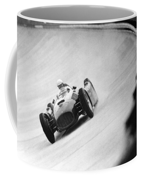 Vintage Coffee Mug featuring the photograph Italian Racing Driver Nino Farina Driving His Ferrari At Monza by Italian School
