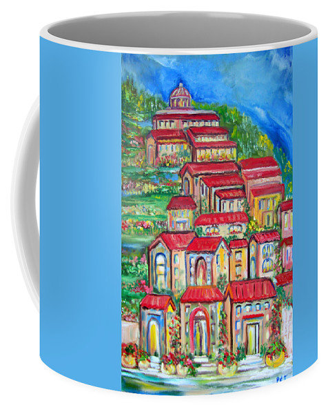 Tuscan Village Coffee Mug featuring the painting Italian Village on a Hill by Patricia Clark Taylor
