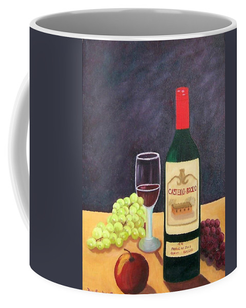 Still Life Coffee Mug featuring the painting Italian Wine And Fruit by Ruth Housley