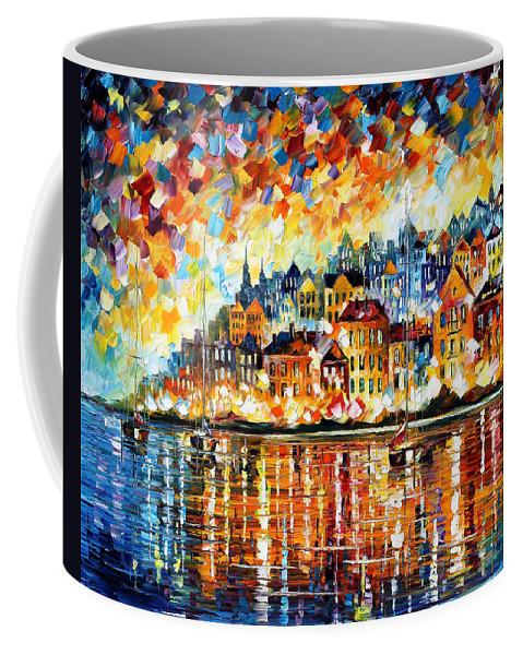 Afremov Coffee Mug featuring the painting Italy Harbor by Leonid Afremov