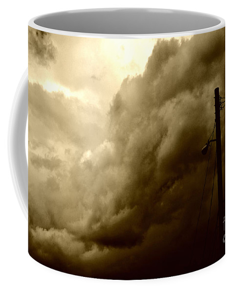 Clay Coffee Mug featuring the photograph It's Coming by Clayton Bruster