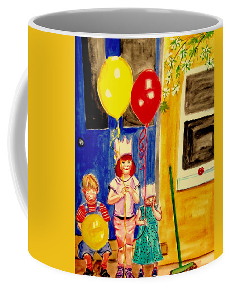 Childhood Coffee Mug featuring the painting Its My Party by Rusty Gladdish
