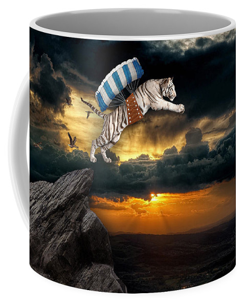 White Tiger Coffee Mug featuring the mixed media It's The Thrill Of The Flight by Marvin Blaine