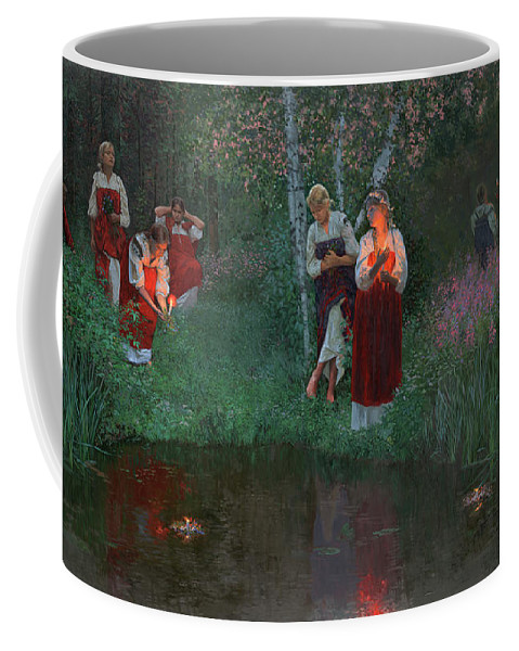 Girs Coffee Mug featuring the painting Ivan Kupala. Fortunetelling For Wreaths. by Simon Kozhin
