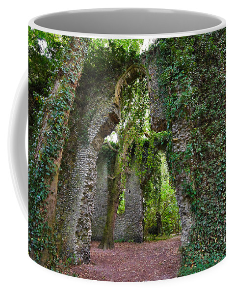 Travel Coffee Mug featuring the photograph Ivy Clad Ruin by Louise Heusinkveld