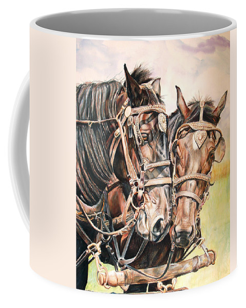 Black Coffee Mug featuring the painting Jack And Joe Hard Workin Horses by Toni Grote