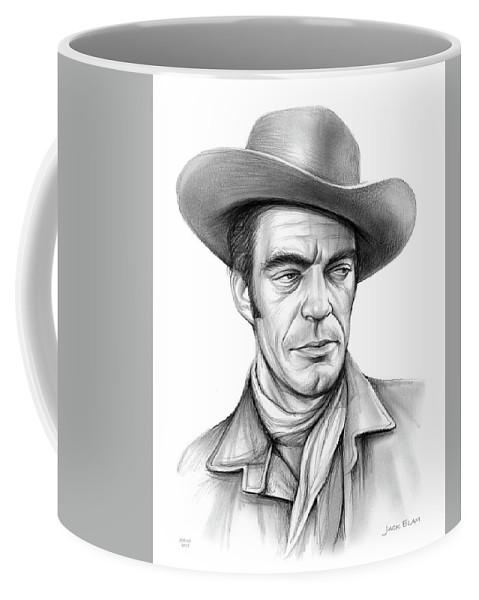 Jack Elam Coffee Mug featuring the drawing Cowboy Jack Elam by Greg Joens
