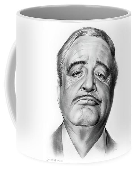 Jackie Gleason Coffee Mug featuring the drawing Jackie Gleason by Greg Joens
