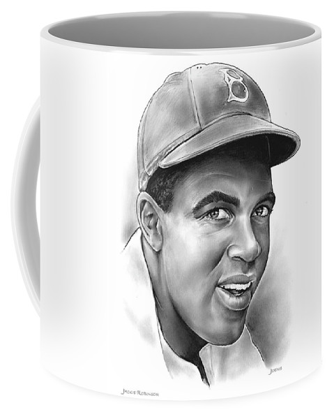 Jackie Robinson Coffee Mug featuring the drawing Jackie Robinson by Greg Joens
