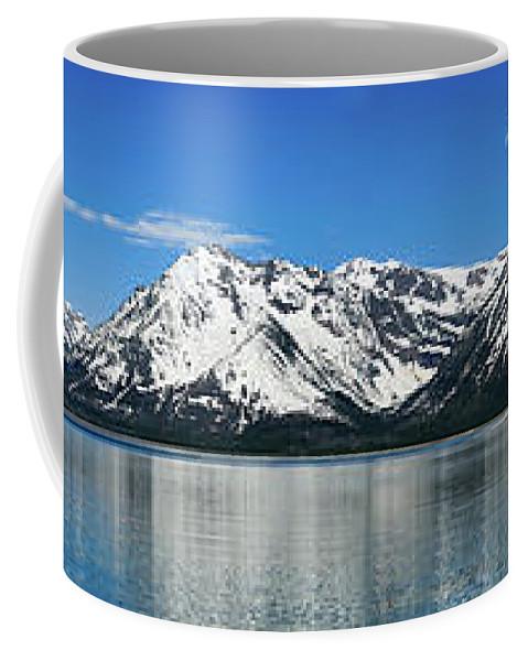 Grand Teton National Park Coffee Mug featuring the photograph Jackson Lake Teton Panorama by Greg Norrell