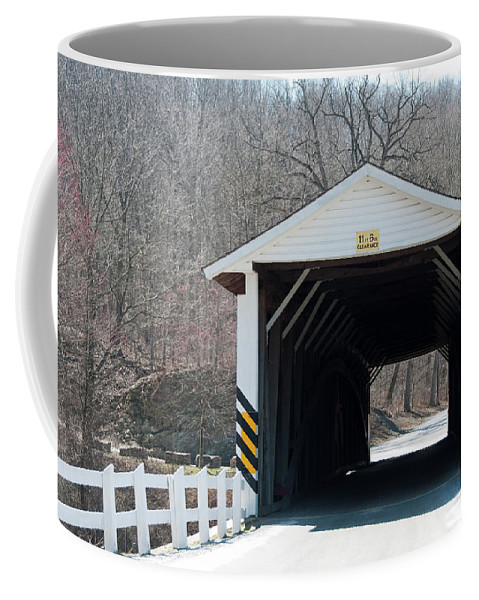 Covered Bridge Coffee Mug featuring the photograph Jackson Mills by David Arment