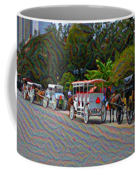 Jackson Coffee Mug featuring the painting Jackson Square Horse And Buggies by Bill Cannon