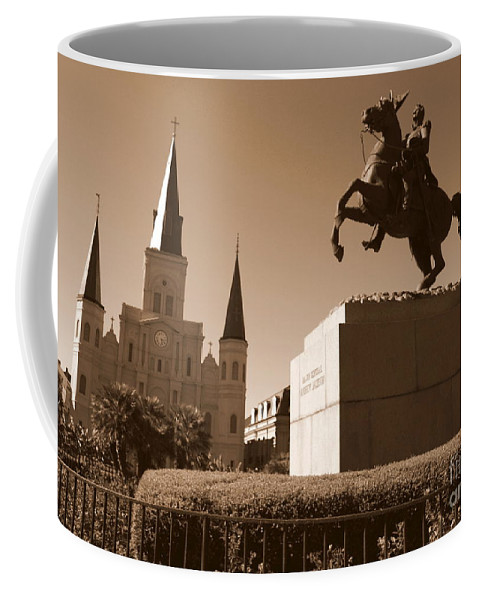 New Orleans Coffee Mug featuring the photograph Jackson Square In New Orleans - Sepia by Carol Groenen