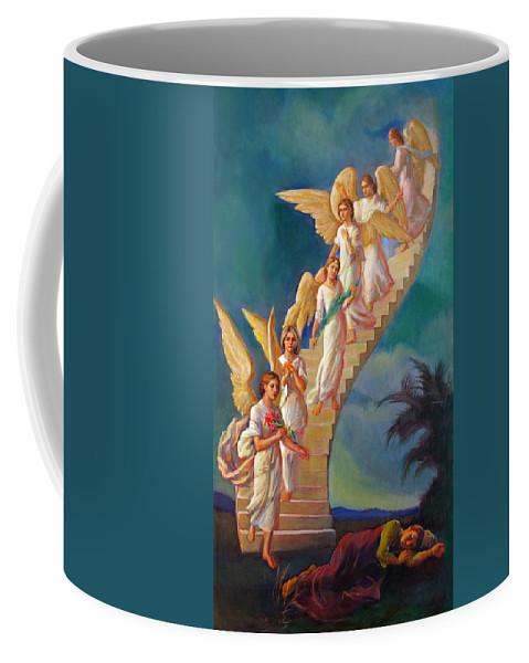Jacob Coffee Mug featuring the painting Jacob's Ladder - Jacob's Dream by Svitozar Nenyuk