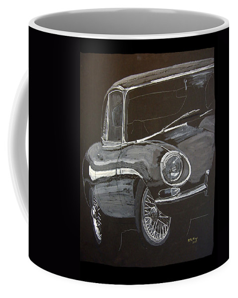 Jaguar Coffee Mug featuring the painting Jaguar E Type by Richard Le Page