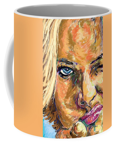 Jaime Pressly Coffee Mug featuring the painting Jaime Pressly by Travis Day