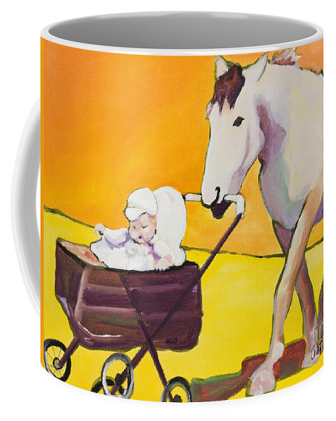 Animal Coffee Mug featuring the painting Jake by Pat Saunders-White