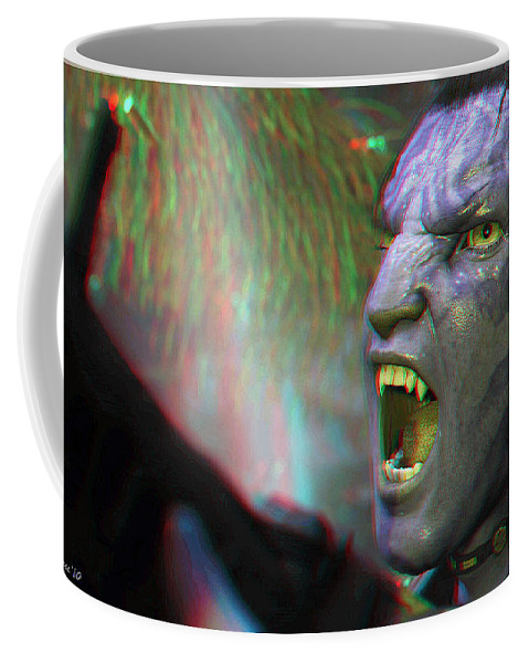 3d Coffee Mug featuring the photograph Jake Sully - Sam Worthington - Red-cyan 3d Glasses Required by Brian Wallace