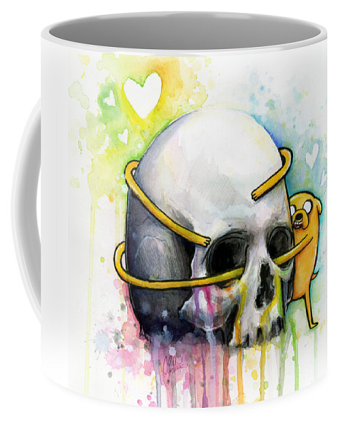 Adventure Time Coffee Mug featuring the painting Jake The Dog Hugging Skull Adventure Time Art by Olga Shvartsur
