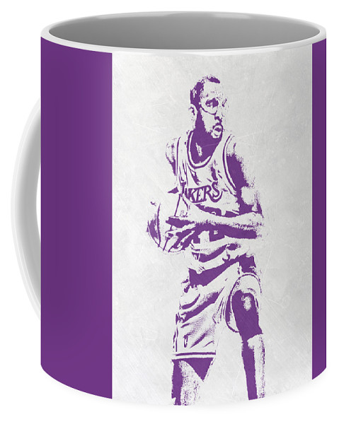James Worthy Coffee Mug featuring the mixed media James Worthy Los Angeles Lakers Pixel Art by Joe Hamilton