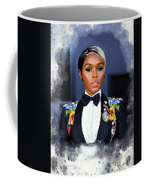Janelle Monae Coffee Mug featuring the digital art Janelle Monae by Karl Knox Images